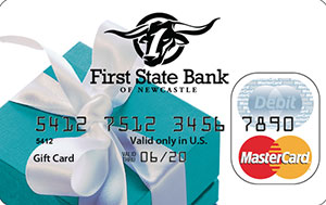 Official First State Bank of Newcastle MasterCard Debit Card